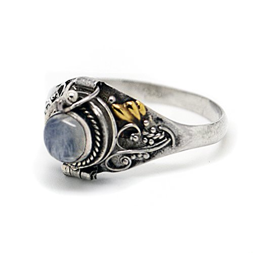 (Sterling Silver Round Rainbow Moonstone Poison Locket Box Ring Size 5(Sizes 4,5,6,7,8,9,10,11))