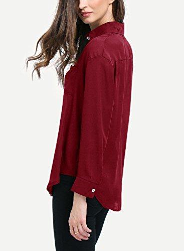 Shirt Damen Revers Einreihig Mit Taschen Chiffon Wein Rot Elegant Vintage Langarmhemd Blusen