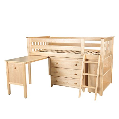 Max & Lily Solid Wood Twin-Size Storage Loft Bed with Dresser, Bookcase and Desk, Natural