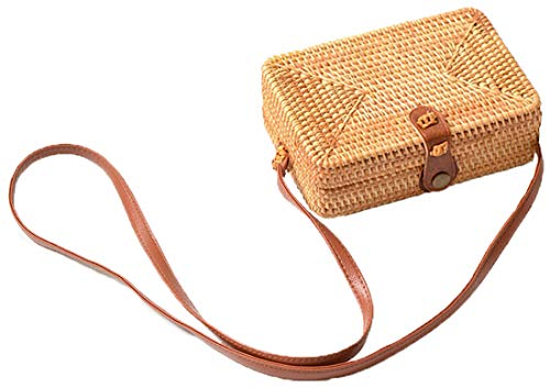 Handwoven Round Rattan Bag Shoulder Leather Straps Natural Chic Hand Gyryp (Leather buttons(small quadrilateral))