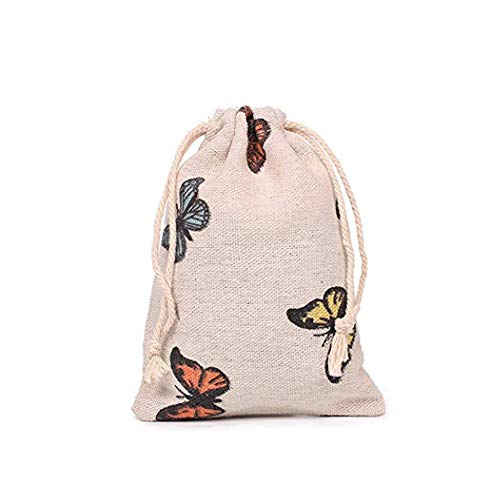 Pack of 12 Butterfly Burlap Drawstring Gift Bags for Party Wedding Favors Giveaways, Cotton Linen Candy Pouch Jute Sack Jewelry Bag (13x18cm) -