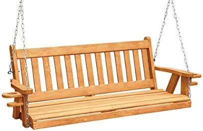Ecommersify Inc Amish Heavy Duty 800 Lb Mission 5ft. Porch Swing with Cupholders – Made in USA Brown