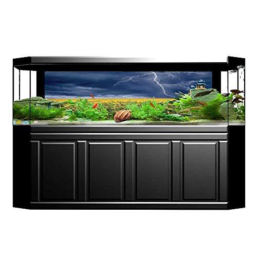 Bolt Barrel Decor - UHOO2018 Fish Tank Background Decor Lightning Bolt Above The Seasonal Field Electric Vibes Mother Nature Theme Image PVC Aquarium Decorative Paper 35.4