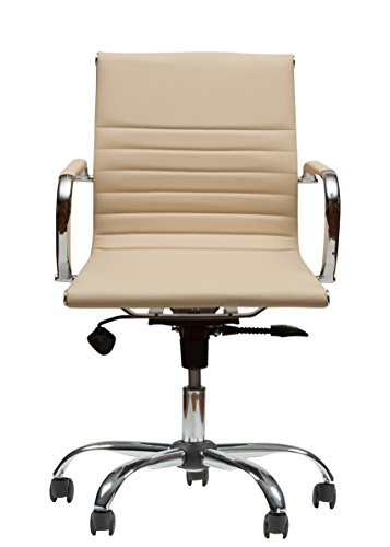Winport Furniture WF-7912 Mid-Back Executive Leather Armrest Desk Chair, Cream