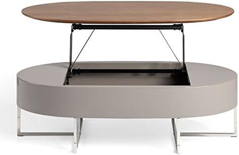 Tousmesmeubles Table Basse Relevable Noyer Metal Fordo L 120