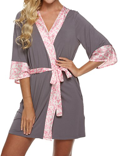Lightweight Viscose Gray Ekouaer Robe Bathrobes Kimono XS XL Short Womens Loungerwear UXwPqpwIx