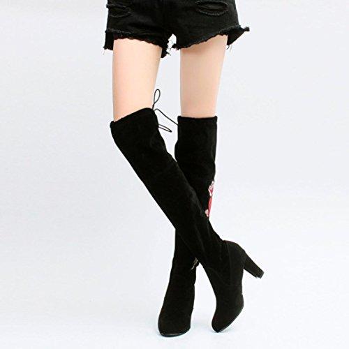 Botines Mujer , Amlaiworld Zapatos de tacones de mujer Botas altas Zapatos de otoño invierno --35/42 Negro
