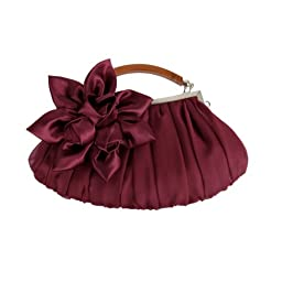 BMC Burgundy Floral Embellished Sheer Chiffon Exterior Kissing Lock Clasp Resin Handle Framed Party Clutch - Evening Out Collection