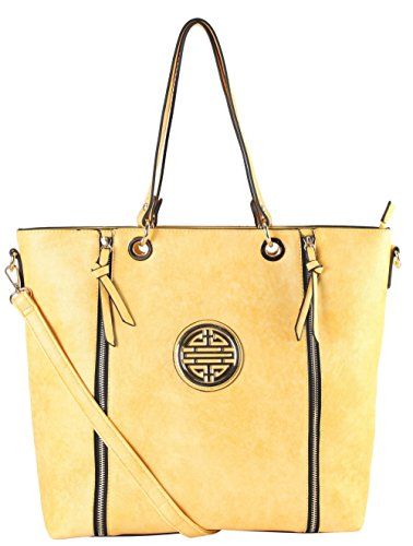 rimen-co-gold-medallion-logo-front-double-zipper-shopping-tote-handbags-dh-2033-yellow