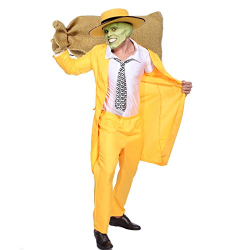 [PAPE, Men 90s Fancy Dress The Mask Jim Carrey Costume Yellow Gangster Zoot Suit Outfit] (Yellow Zoot Suit)