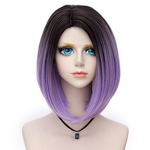 Probeauty Women's Wig Short Bob Dark Root Wig Women's Fashion Synthetic Ombre Wig (Dark Root Ombre Purple) by Probeauty (Image #1)
