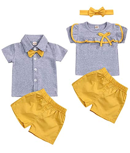 Toddler Baby Girls Boys Twins Clothes Kid Brother and Sister Matching Outfits Short Sleeve Tops + Shorts Pant Outfit Set (Kid Baby Boys Brothers Clothes, 0-6 Months)