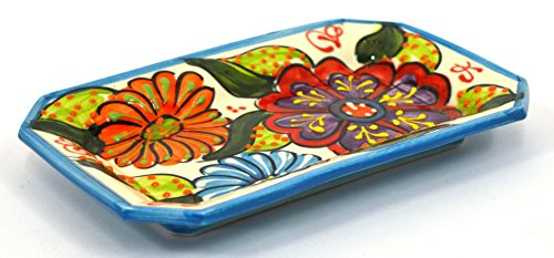 ART ESCUDELLERS Ceramic Octagonal Tray, Handmade and Handpainted in Flower Decoration. 7,68