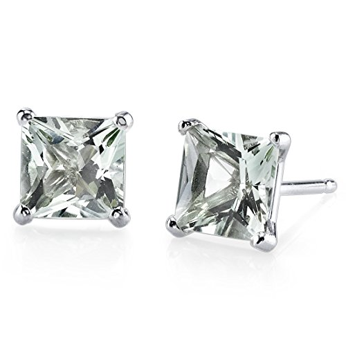 14 Karat White Gold Princess Cut 2.00 Carats Green Amethyst Stud Earrings