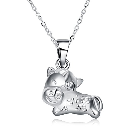 - Xiaodou Chinese Zodiac Pendant Necklace 925 Sterling Silver Twelve Species Animals Pendant Necklaces (horse)