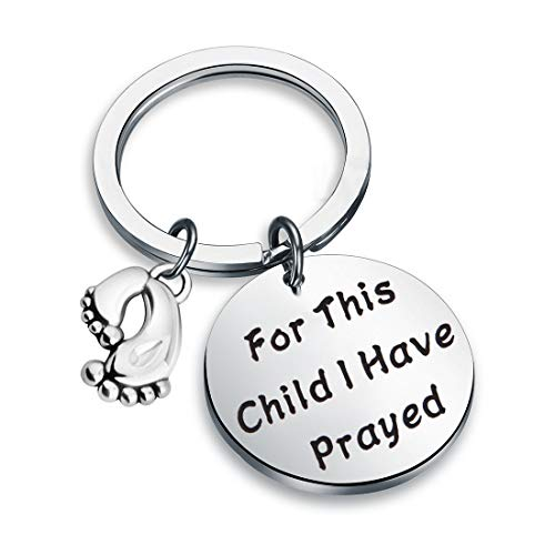 Zuo Bao Christian Jewelry Bible Verse Keychain for This Child I Have Prayed 1 Samuel 1:27 Baptism Jewelry Gift (Keychain)