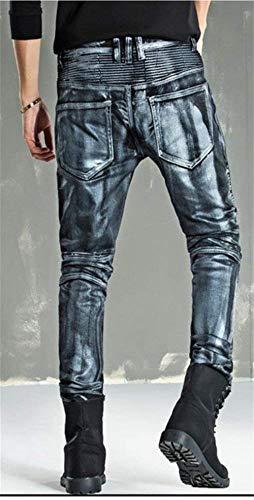 W34 A Skinny Motociclista W28 Argento Especial Silber Jeans Rivestiti Estilo Da L019 Pantaloni Roso Uomo Moto Oro In gwqaZ8xH