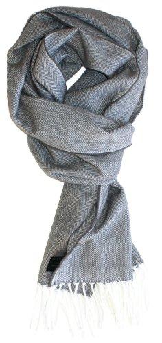 aditional Herringbone Weave Cashmere Blend Winter Scarf (Pale Grey) ()