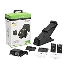 PDP Energizer Xbox One Controller Charger with Rechargeable Battery Pack for Two Wireless Controllers Charging Station 0018, Black