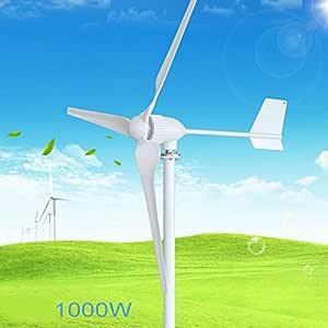 1000W Wind Turbine Generator, AC 24V / 48V 3 Blade 1150Mm Lage Windsnelheid Windmolen, Met Wind Laadregelaar,48v