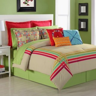 Ava Comforter Set (Fiesta 4 Piece Salaya Comforter Set - Queen - with Coordinating Bed Skirt & 2 Pillow Shams)