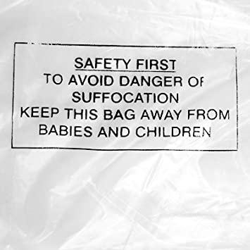 1000 x Standard Polythene Safety Notice Warning Bags (250mm x 300mm) - Choice of Sizes Available - Ref BPWN80/05 Davpack
