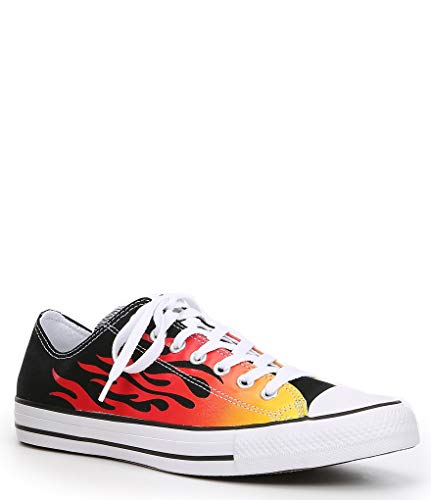 Converse Men's Chuck Taylor All Star Flames Low Top Casual Shoes, Black/Enamel Red/Fresh Yellow Womens 8 / Mens 6