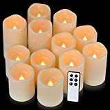 pensar flamless Candles, Waterproof Candles Set of 12(D 3'' H 3'' 4'' 5'') led canles(Battery not Include)
