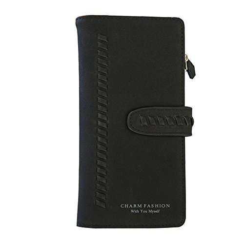 TJEtrade Women's Wallets Bifold Suede Luxury Clutch Card Holder Large (Leather Suede Wallet)