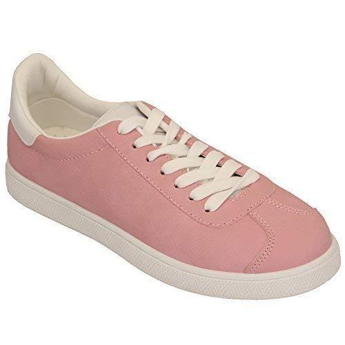 pour Femmes Daim Look Baskets Femmes Lacet Plat Sport Chaussures de Tennis  Chaussures Mode Neuve - 613fd2b34f32