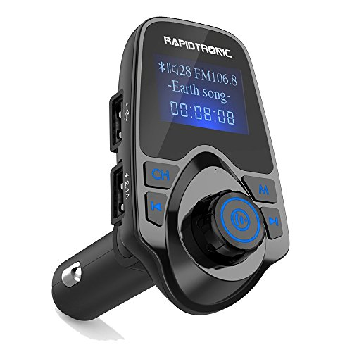 FM Transmitter, Rapidtronic Bluetooth Adapter Car Kit In-Car Radio Wireless Receiver 1.44 Inch Display 2.1A Dual USB Ports Car Charger MP3 Player Read TF Micro SD Card AUX Input USB Flash Drive-Black
