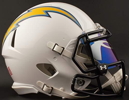 Nfl Shield Logo Helmet - Riddell Los Angeles Chargers Full Size NFL Football Helmet with UA TILT-Logo/Blue Visor/Eye Shield