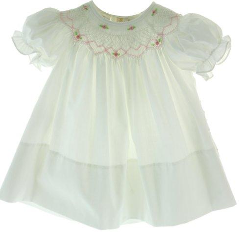 White Smocked Bishop (Infant Girls White Smocked Bishop Dress Rosalina (9M))