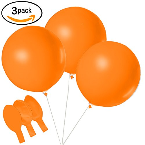 Halloween Decorations - Round Orange Balloons - Jumbo 36 inch - 3 Pack - By Retail Parity -