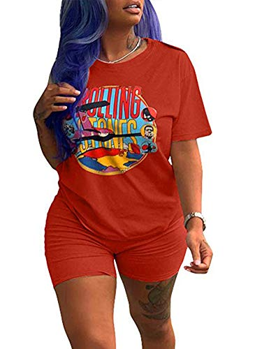 Women Club 2 Piece Jumpsuit Round Neck Short Sleeve Cartoon Print Tee Shirts Fitness Outfit Rompers Shorts Rust Red XL