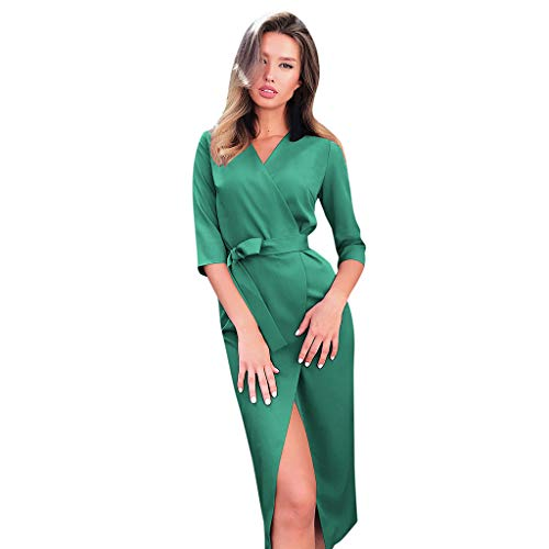 Chic Femmes D'été Dress Party Bodycon Longue Elégant Col V Cocktail Slim Sexy Manches Ceinture Amlaiworld Robes Fit Bureau De 3 Ol 4 Simple Split Avec Soirée Noir Robe 6zwaT7nqd