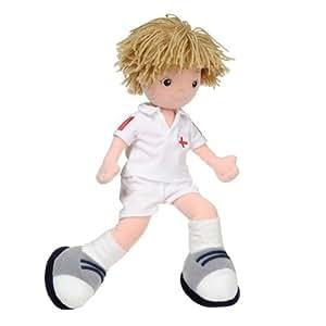 Aurora Tommy - Muñeco de trapo vestida de futbolista (35,5 cm)