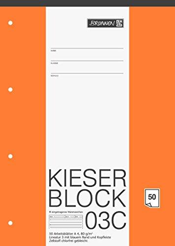 Brunnen 1042923 KIESER-Block Lineatur 3 (A4, 50 Blatt, blanko, 80g/m², Klasse 3)