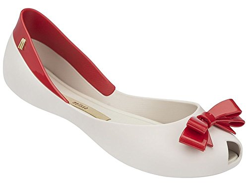 Melissa Women's Queen Beige Red Bow-topped Flat - 10 B(M) US