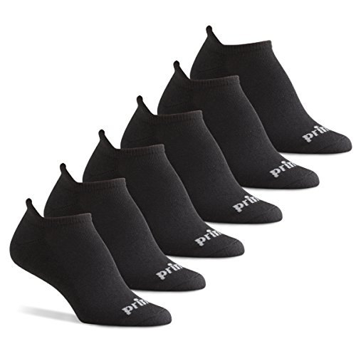 Prince Women's Tab Performance Athletic Socks for Running, Tennis, and Casual Use (6 Pair Pack) - Solid Black, Women's Shoe Size 6-10