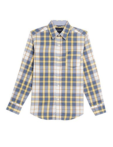 Nautica Boys' Little Long Sleeve Plaid Woven Shirt, Gold, 7x
