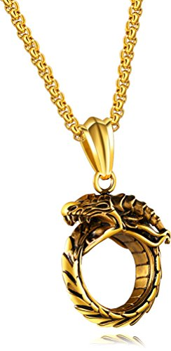Wonlines Hip Hop Stainless Steel Dragon Head Medallion Tag Pendant Necklace(Gold)