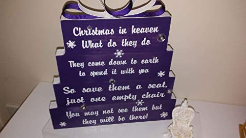 (Christmas in Heaven, save them a seat, one empty chair, Christmas Purple, with white print and snowflakes, silver accents with purple and white ribbon with small antique chair)