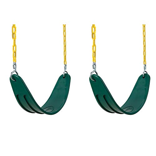 Extreme Heavy Duty Swing Seat Set - 2 Pack of Outdoor, Playground Swings with Coated Chains & Quick Links, Green