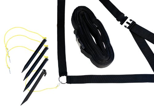"""Park & Sun Sports Adjustable Outdoor Volleyball Boundary Webbing with Ground Stakes: 2"""" Wide Court Line Marker, Black"""