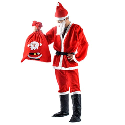 Santa Suit Adult Men Santa Claus Costume with Beard and Gift Bag for Christmas Santa Claus Cosplay Suit Outfit, Regular Size -
