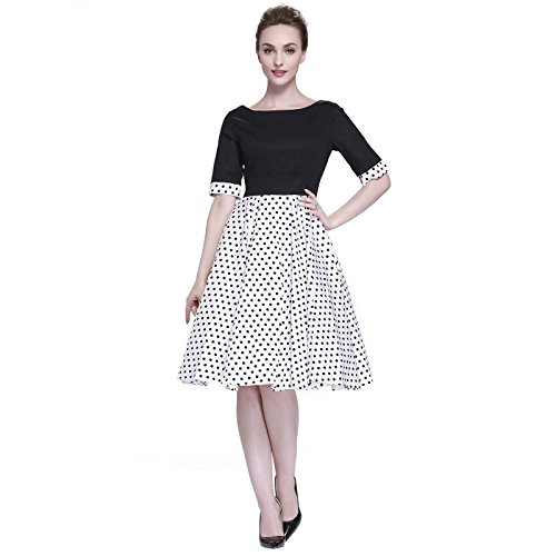 Heroecol Womens Vintage 1950s Dresses Oblong Neck Short Sleeve 50s 60s Style Splice Retro Swing Cotton Dress Size S Color Black Splice Black With White Polka (2)