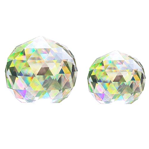(Together-life Clear Cut Crystal Ball Prisms Glass Sphere Faceted Gazing Ball for Home Décor, Suncatcher (80mm+60mm) )