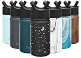 Simple Modern Insulated Water Bottle with Straw Lid Kids Reusable Wide Mouth Stainless Steel Flask Thermos, 14oz (415ml), Engraved: Lunar