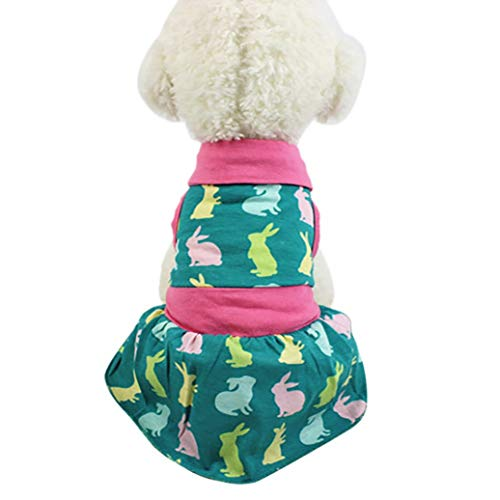 Jim-Hugh Dog Dress Rabbit Printed Polyester Dogs Cat Easter Shirt Skirts Dresses Spring Summer Small Large Tutu -